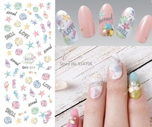 Make Up Product New Water Transfer Nails Art Sticker Cartoon Ocean Shell Nail Wraps Sticker Watermark Fingernails Decals(China)