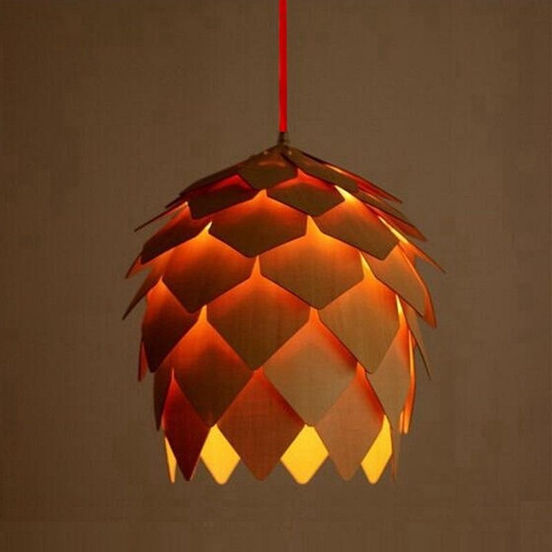 2016 Modern Wood Pendant Lights Lamp, Dinning Room Restaurant Modern Lighting, Pinecone Lamp Shape Lustres luminaire<br>