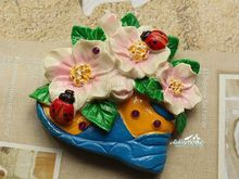 Flowers and ladybird on the Shoe, 3D Resin Fridge Magnet Craft