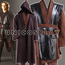 Star Wars Robe Anakin Skywalker Jedi Cosplay Costume Coffee Cloak Tunic Man Halloween Uniform Sets for Adult Kids