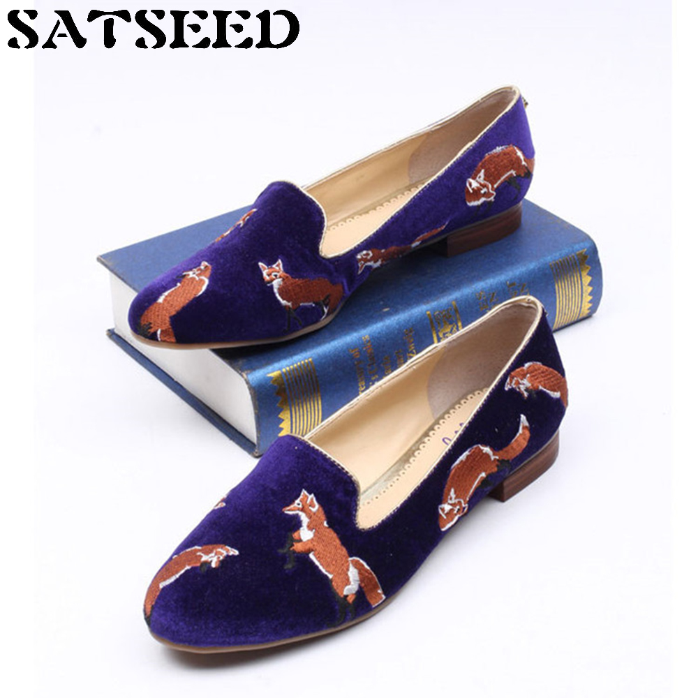 Spring Women Pumps 2018 New Embroidery Lofer Shoes Round Toe Low Heel Female Pumps College Students Shoes Leisure Lazy Shoes<br>