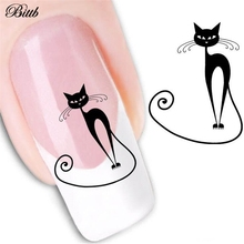 Bittb 2Sheets Cat Nail Stickers Euramerican Water Transfer Sticker Manicure Decal Art Nail Tools Beauty Nail Tips Decoration(China)