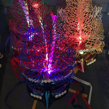 LED Flashing Maple Leaves Fiber Mask Women Girls Princess Glowing Half Face Masks Christmas Masquerade Party Supplies(China)