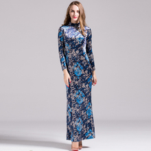Vestido Casual Dress Korea Style Women Slim Retro Flowers Print 2016 Autumn Topshop Ethnic Style Mid-Calf Turtleneck Long Dress