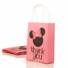 15x6x21cm Thank Natural Kraft paper bag with handle Paper Wedding Favor Gift Bags for Party 12 PCS.