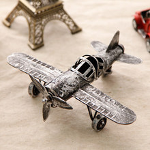 Iron plane model retro antique handicraft ornaments old American desktop ornaments Home Furnishing creative decorations(China)