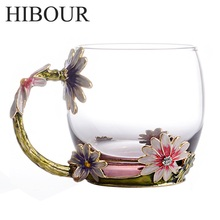 HIBOUR Classical Chrysanthemum Enamel Glass Coffee Mug Luxury Glass Cups with Handle Set Tea Cup Gift with Gift Box(China)