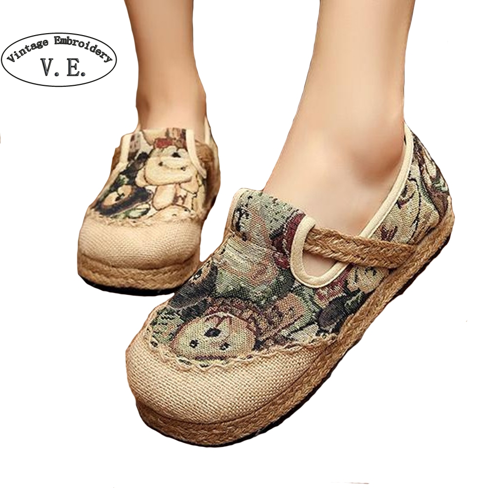 Vintage Embroidery Summer Flat Shoes Woman Comortable Casual Slip-on Flats Breathable Outdoor Women Shoes<br><br>Aliexpress