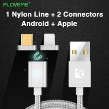 FLOVEME Magnetic Cable Nylon Fast Charging For Apple iPhone 6 7 For Android For Samsung Xiaomi Double Connector Micro USB Cable