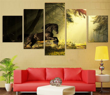Unframed 5 Pieces HD Printed Majestic Horse Training The Forest Painting Canvas Print Room Decor Print Poster Picture Canvas