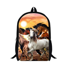 Stylish Plush Horse 3D printing Backpacks for boys,design bookbags for elementary students,fashion back pack bag for school bags(China)