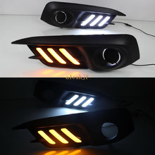 July King LED Light Guide Daytime Running Lights Case for Honda Civic 10th 2016+, LED DRL With Yellow Turn Signals Light