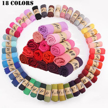 2016 Multicolor High Quality Cotton Candy Color Soft Shawl Female Literary Pure Color Linen Muslim hijabs Scarves 18 Colors(China)