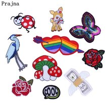 Prajna Flower Rose Butterfly Patch Applique Cute Heart Sewing Patch Cartoon Iron On Embroidered Patches For Clothes Jacket Badge(China)