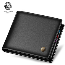 Laorentou Wallet Men 100% Genuine Leather Short Wallet Vintage Cow Leather Casual Men Wallet Purse Standard Holders Wallets(China)