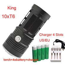 High Brightness KING 10T6 10 XM T6 LED Ray FLASHLIGHT Torch Camp Lamp Light+ 4pcs high capacity 18650 battery +charger