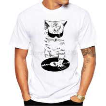 2017 Men's Funny DJ Music Cat Design T Shirt Male Fashion Cool Tops Hipster Printed Summer Tees(China)