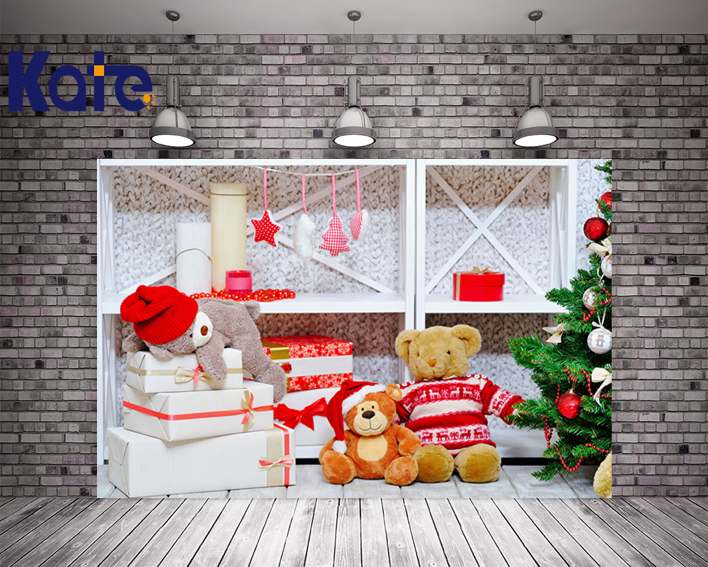 5x7FT Kate Newborn Christmas Photography Backdrops Bear Christmas Tree Backdrops Children Backgrounds Photo Studio<br>