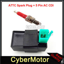 5 Pin AC CDI + A7TC Spark Plug For 50cc 70cc 90cc 110cc 125cc ATV Quad Pit Dirt Motor Trail Bike Motorcycle