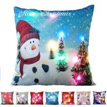 1PC Christmas LED Luminous Case Lights & Lights LED Luminous Pillow Decoration Creative Sofa Pad Cover Pillow Case Cushion 3(China)