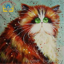 Diy embroidery with diamonds needlework diamond painting mosaic dmc paint animals fat cat cross-stitch decor handwork AB396