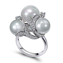 Deluxe 3 Pearls Luxury jewelry Fashion New Trending Product Bijoux Shell Wedding Accessories Fancy Women Gift Women Pearl ring(Hong Kong)
