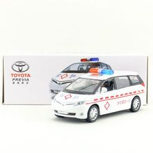 Brand New YJ 1/32 Scale Car Model Toys JAPAN TOYOTA PREVIA Sound&Light Diecast Metal Car Model Toy For Gift/Collection(China)