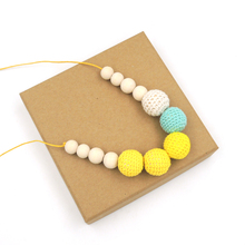 Yellow & Teal Crochet Nursing necklace - chewing beads - Breastfeeding Babywering necklace - Teething toy NW1799