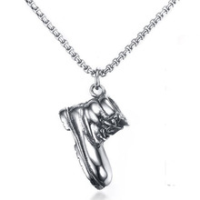 Men Hip Hop New Silver Stainless Steel Individual Shoe Pendant with Box Necklace