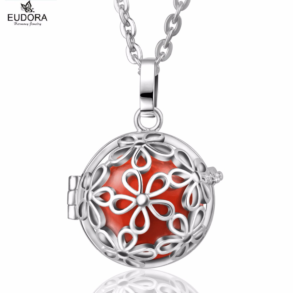 Retail Angel Caller Fashion Copper Beautiful Daisy Floral Eudora Harmony Ball Bola Locket Cage Pendant Jewelry Gift(China)