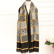 Fashion leopard zebra print scarves/scarf geometric Chain women vintage shawl muslim print wraps big pashmina hot sale muffler