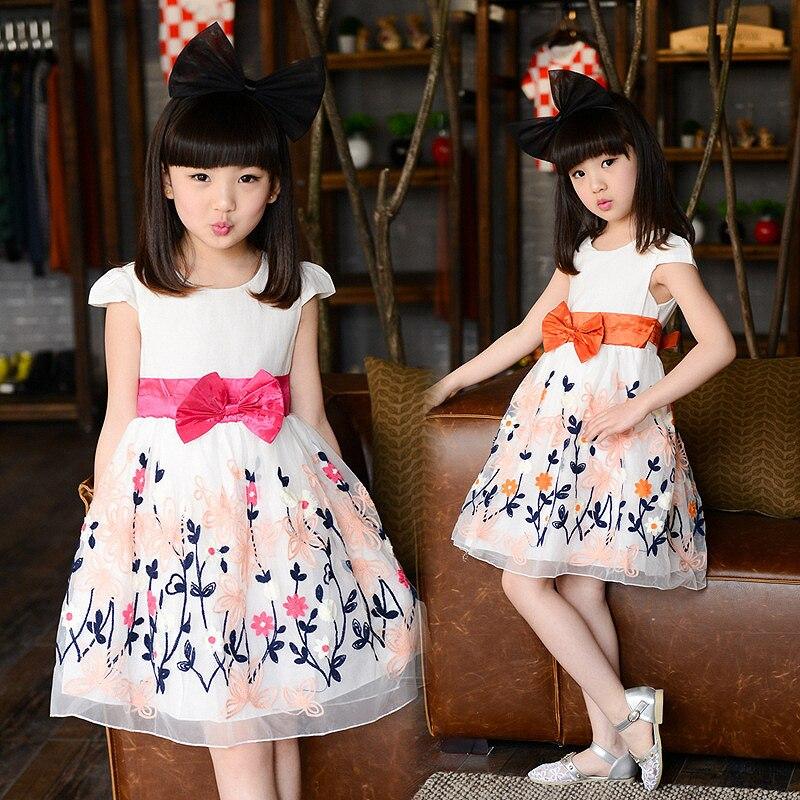 Childrens Clothing Korean Cotton Lace Summer Girls Princess Dress Kids Costumes Pink Orange Bow<br><br>Aliexpress