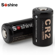 2pcs! Soshine 3V 1000mAh CR2 Rechargeable Battery CR 2 Lithium Battery for LED Flashlight Headlamp Bicycle Light