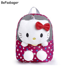 Classic Dot Cute Hello Kitty Backpacks Gift for Children Plush Cartoon Kindergarten Kids Nylon School Bag with Detachable Doll