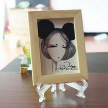 Clear Plastic Plate Display Stand Picture Frame Easel Holder Home Office Decoration