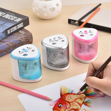 Multi-functional Automatic Electric Pencil Sharpener Battery Operated with 2 Holes(6-8mm /9-12mm) for Home School Student Silver