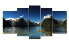 5 Piece Wall Art Painting Milford Sound New Zealand Blue Water Lake Mountain Pictures Prints On Canvas Landscape Decor
