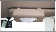 luxury  PU leather Hanging tissue box pumping tray ceiling skylight type tissue box for car napkin holder PZJH007