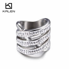 2016 Kalen Latest Fashion Finger Rings Stainless Steel Ethiopian Rhinestone Silver Rings for Women Girls From Guangzhou Supplier