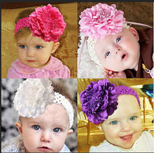 free shipping Cuty Kids Peony Flower Hair Clip with Stretchy Crochet Headband for Girl Pettiskirt A041