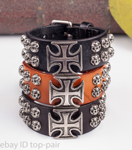 Lot 3pcs Rock Metal Cross Studded Simply Cool Single Wrap Men's Leather Bracelet Wristband Cuff Vintage