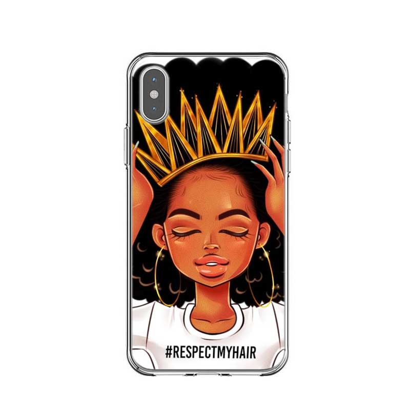 Afro Black Girl Magic Melanin Poppin Phone Case For Iphone X Xr Xs Max Hard Phone Cover For Iphone 5 5s Se 6 6s 7 7plus 8 8 Plus Turnt Up Boutique