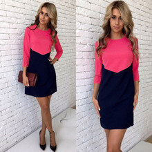 2017 Spring Summer Dresses New Fashion Casual ONeck  Patchwork Pink Black White Work Office Dress Loose Mini Women Dress Vestido