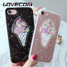 LOVECOM Lovely 3D Summer Ice Cream Phone Case For iPhone 6 6S 7 7 Plus Shining Glitter Powder Soft TPU Back Cover Coque