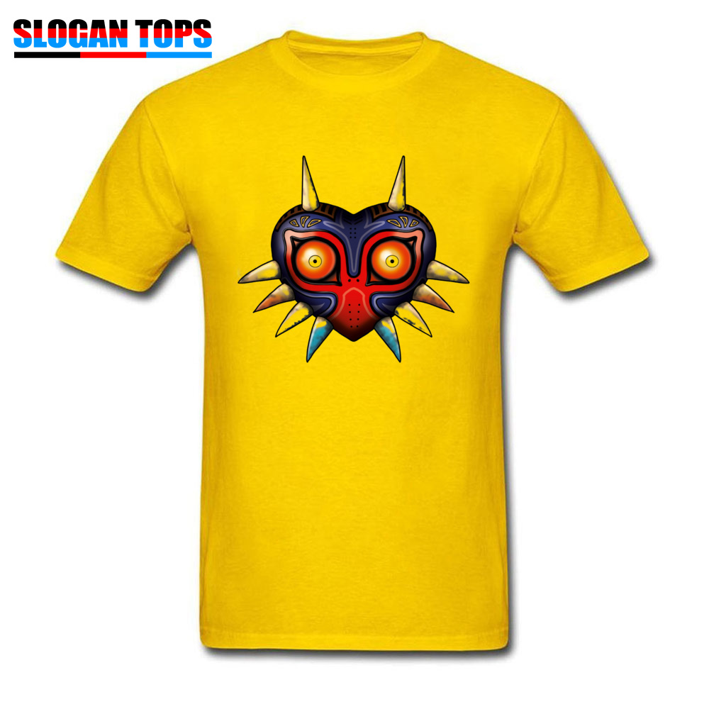 Hip hop Majoras Mask Zelda 17572 Male Tshirts 2018 Popular Summer Fall Short Sleeve Tops Shirts Crewneck 100% Cotton T-Shirt Majoras Mask Zelda 17572 yellow