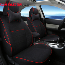 CARTAILOR Linen Cover Seats fit for Cadillac ATS 2013 2014 2015 Accessories Custom Car Seat Cover Set Black Auto Cushion Covers(China)