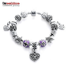 LZESHINE New Cheap European Silver Antique Color Charm Bracelets Bangles for Women Beads Bracelet Handmade Love Jewelry Pulseira