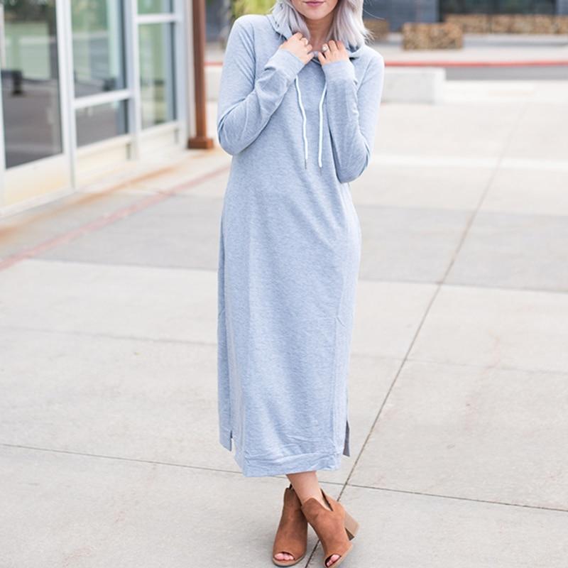 Womens Long Sleeve Hooded Sweatshirt Dress Ladies Solid Loose Casual Party Dress
