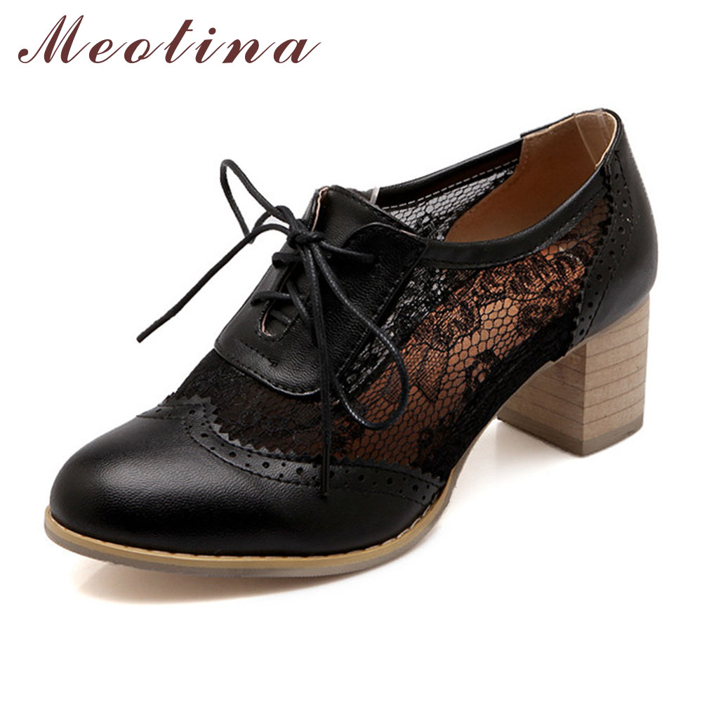 Meotina Shoes Women Pumps Autumn Closed Toe Square Chunky Medium Heels Female Lace Up White Black Shoes Plus Size 41 42<br><br>Aliexpress
