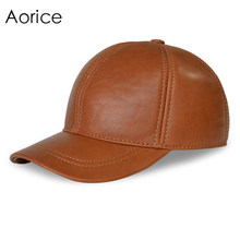 Aorice genuine leather baseball cap hat men's  brand new warm real leather trucker golf caps hats white color HL008-2